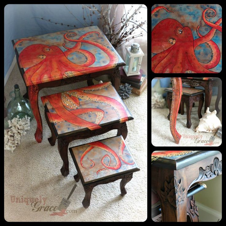 Three Nesting Tables with Octopus Design