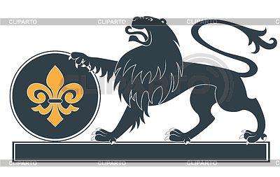 Геральдический лев силуэт   Векторный клипарт   ID 3691680