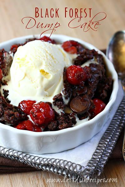 Black Forest Chocolate Dump Cake   A decadent chocolate dessert recipe that has a tangy sweetness to it. This dump cake recipe is to die for.