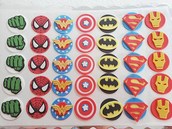 Superman, Wonder woman, Batman, Spiderman, Captain America, Hulk, Iron man  (Super hero) logo fondant cupcake toppers