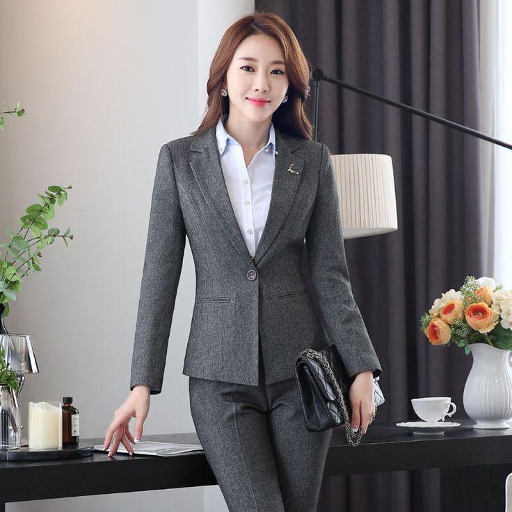 Novelty Grey Autumn And Winter Slim Fashion Formal Blazers & Jackets Ladies Office Long Sleeve Women Tops Blazer Coat Blaser #Affiliate