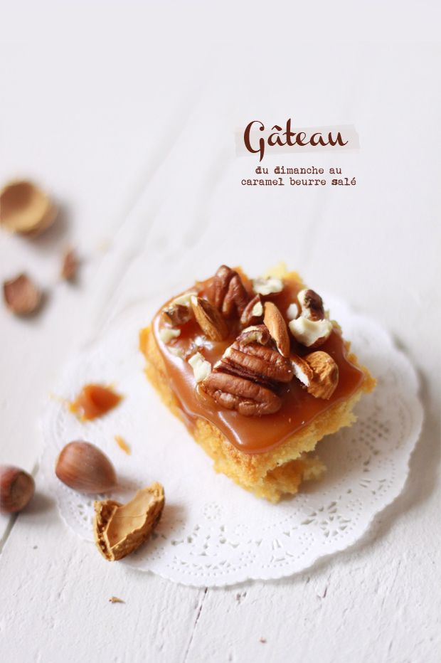 cake, caramel and nuts
