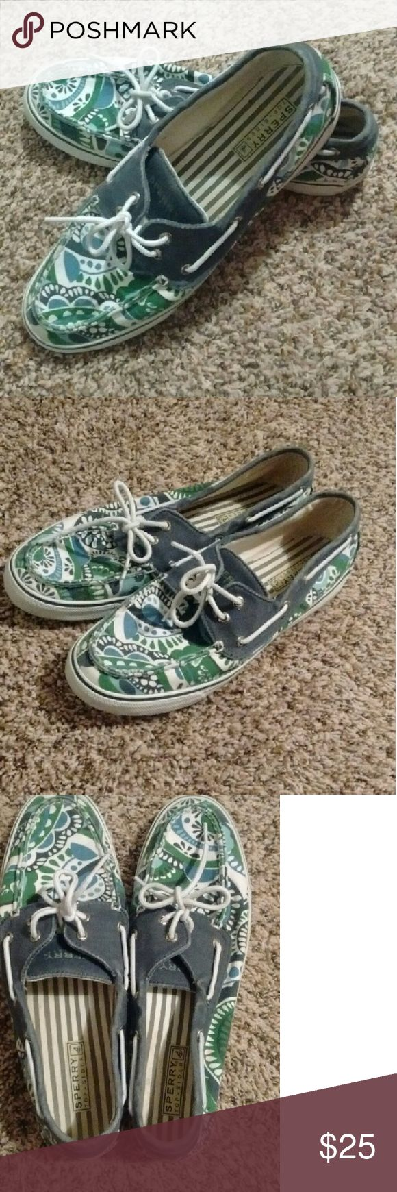 Colorful Sperry Top-Siders Blue, green & white Sperry Top-Siders. Women's size 11M Sperry Top-Sider Shoes