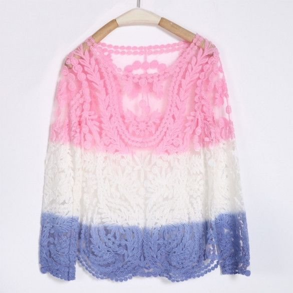 New Fashion Semi Sexy Sheer Sleeve Embroidery Floral Lace Crochet Tee T-Shirt Top T Shirt