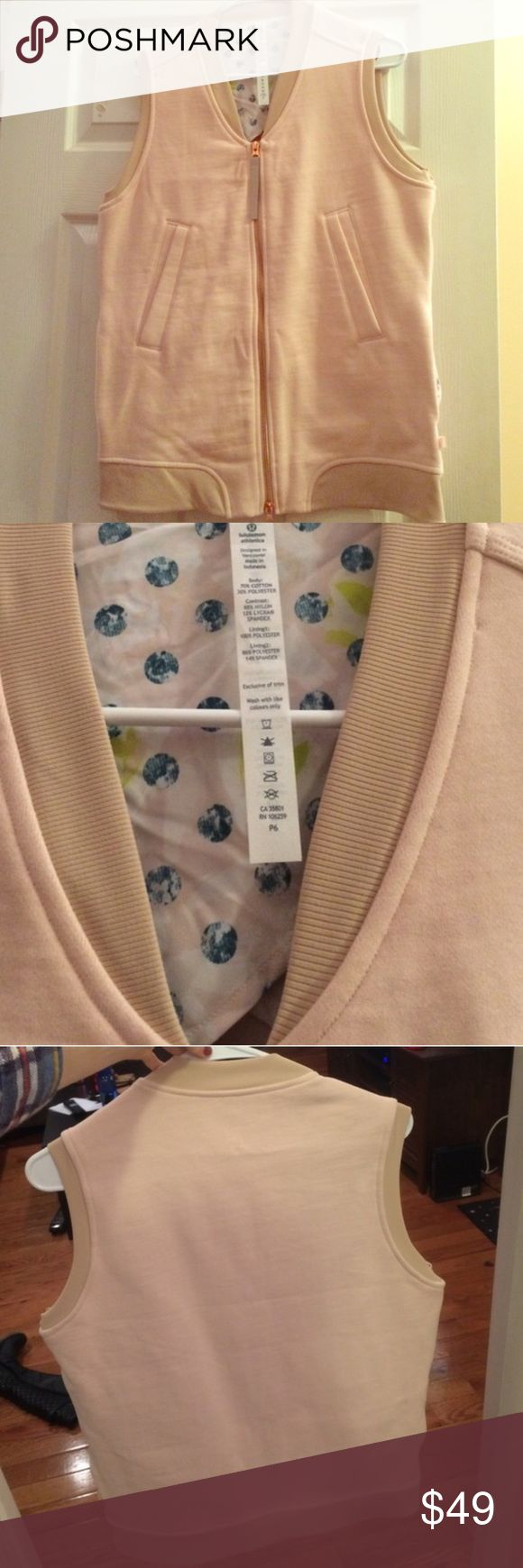 NWOT lululemon vest Brand new without tags size 4 lululemon vest. Color is light pink. Normally $148. Never worn lululemon athletica Jackets & Coats Vests