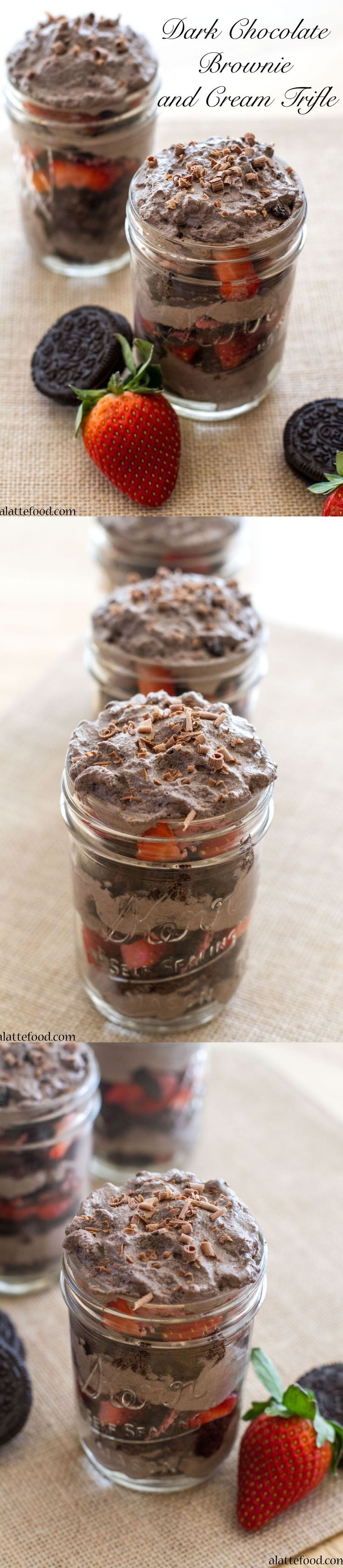 Dark Chocolate Brownie and Cream Trifle: This decadent trifle is layers of dark chocolate whipped cream, dark chocolate brownies, strawberries, and Oreos.