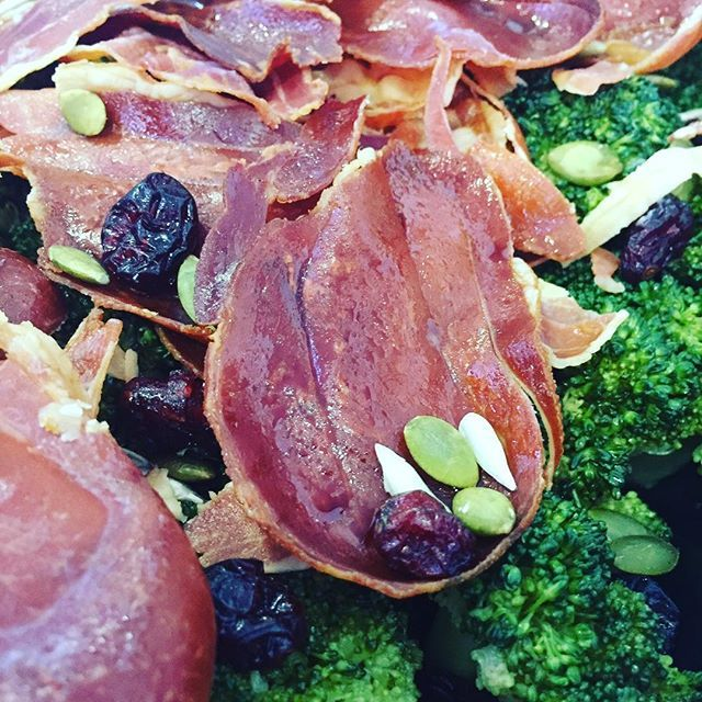Prosciutto and broccoli salad is a fab addition to a BBQ or corporate lunch. Yum! #sydney #prosciutto #broccoli