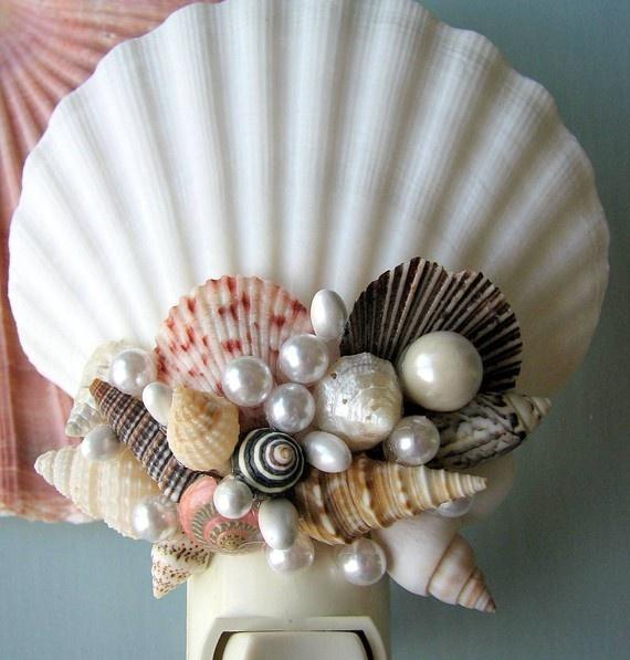 Seashell night light beach decor nautical decor shell for Seashell ornament ideas