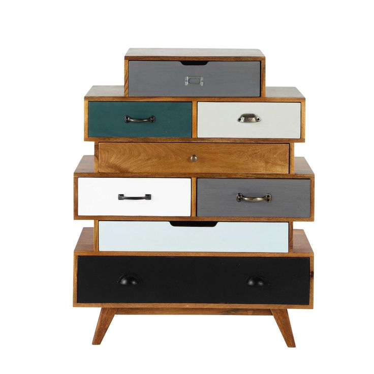 Solid mango wood vintage semainier chest, multicoloured W 86cm Picadilly