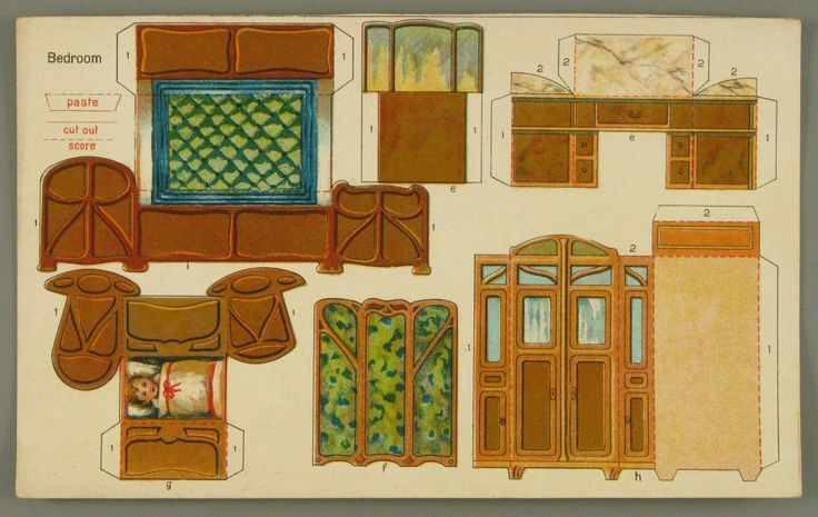 107.3836: Bedroom   paper furniture   Dollhouses   Toys   Online Collections   The Strong