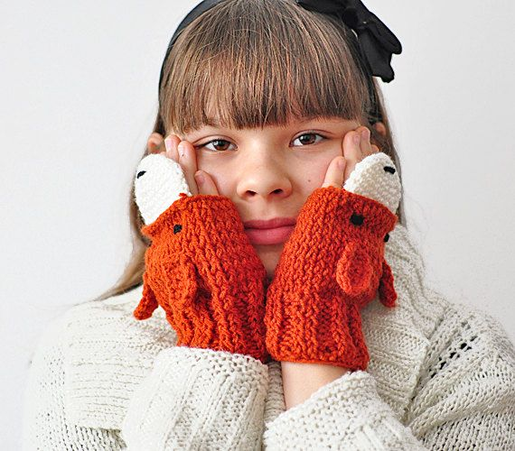 FOX FINGERLESS GLOVES, small size for kids, Mittens Cozy Ginger Forest Animals Woodland warm crochet accessories for woman, gift for girl