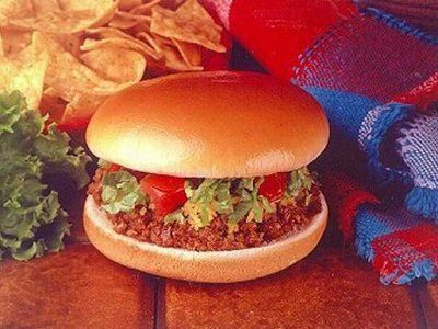 """Bell Beefer"".....Even though Taco Bell's slogan is ""think outside the bun,"" the taco chain made a taco burger, bun and all. Customers were not intrigued by the ground-beef taco burger, deciding to stick to tacos at Taco Bell and burgers at other establishments."