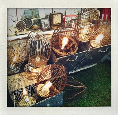 "Industrial mixer whisks made into lamps - love the ""birdcage"" look"