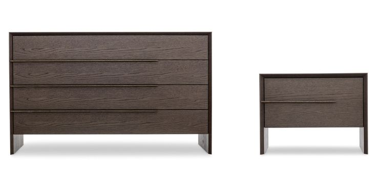 Platone, Drawer units and bedside tables, Products | Designed by Edoardo Gherardi for #Novamobili. The chest of drawers and bedside table from the Platone bedroom collection - available in rovere miele and rovere terra - stand out for their distinctive solid wood built-in handle. #aboutNIGHT #interior #design #italian #style #bedroom #home #decor #furniture