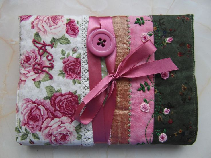 Miss Appleby's end of year teachers present 2014.  Quilted art journal cover with embroidery.