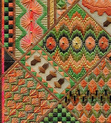 Designer from the UK, makes lovely samplers. It's the way she takes elements of bargello,tonal fields and bold outlines that makes this piece so interesting.  Two-Handed Stitcher