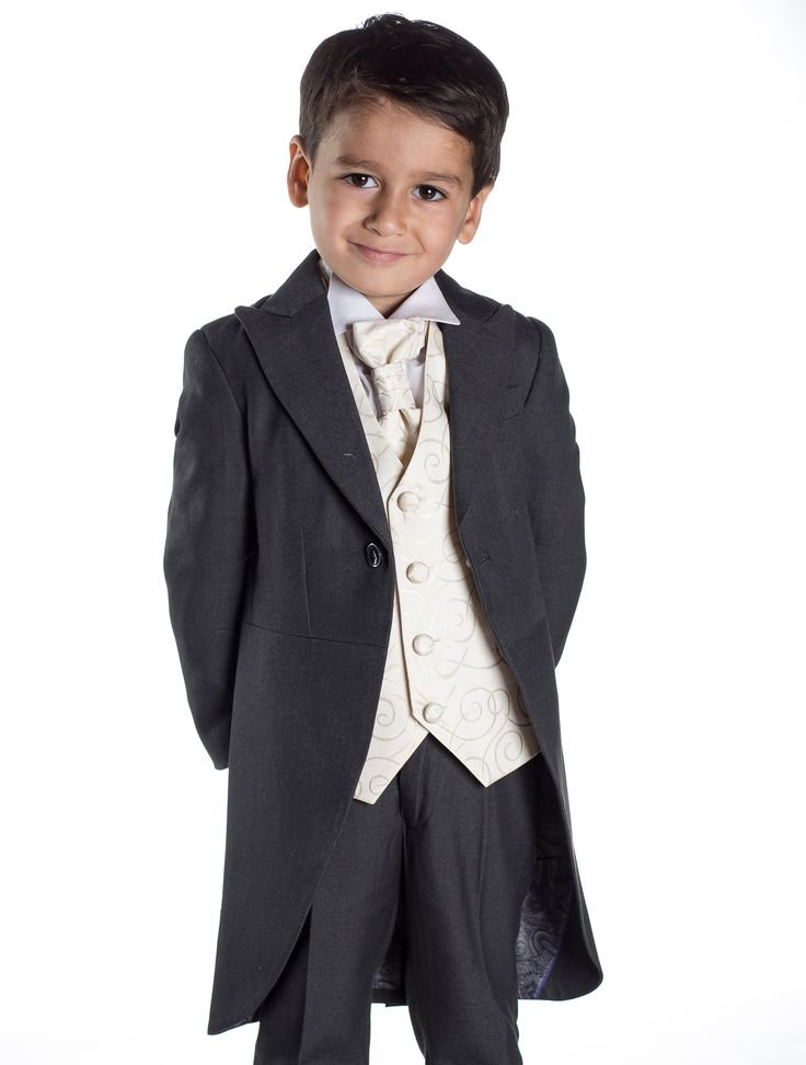 A striking 5 piece grey boys tail suit, completed with an ivory waistcoat and cravat, wing collar shirt and well-fitted single pleat trousers. http://www.paisleyoflondon.co.uk/stockists/