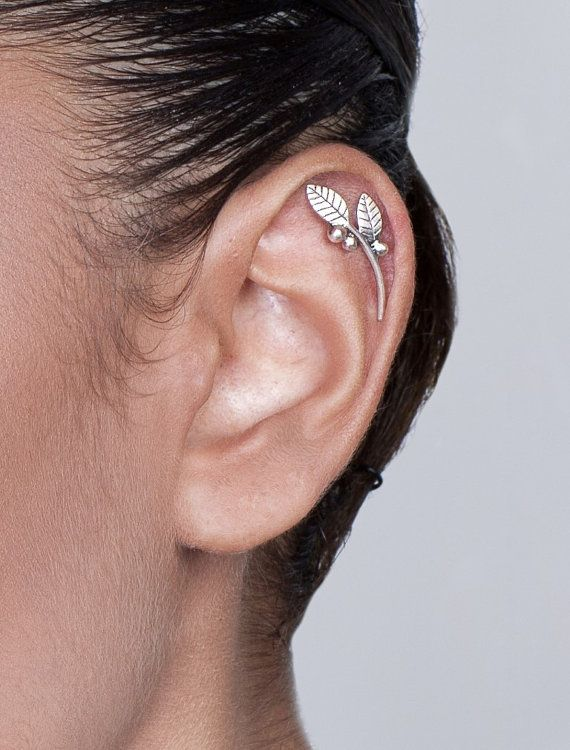 Silver Leaves and Berries Cartilage by shirliclassicjewelry