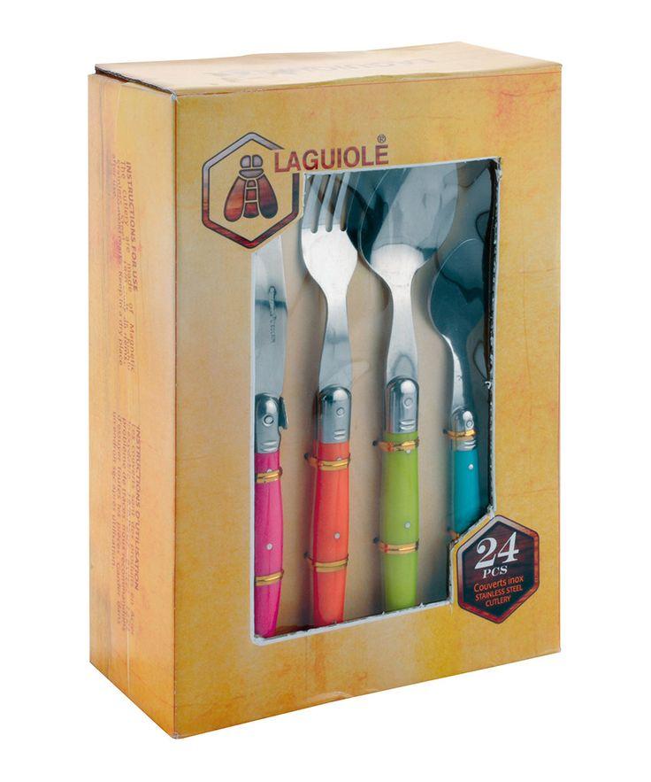 24-piece multi-coloured cutlery set  by Laguiole on secretsales.com