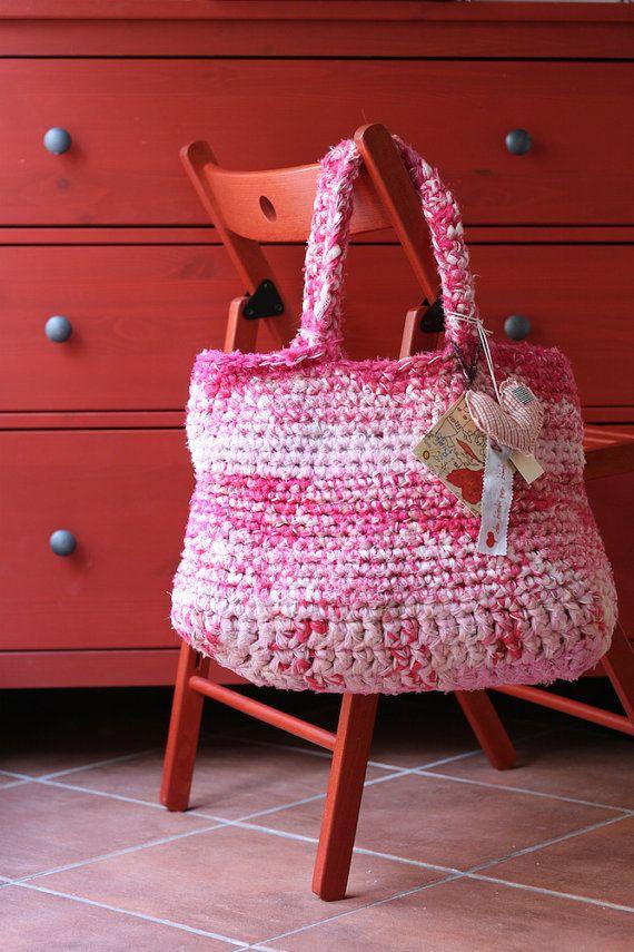 Borsa artigianale di cotone fatta a mano rosa / Handmade cotton bag, pink. #ambrarose #handmade #bag