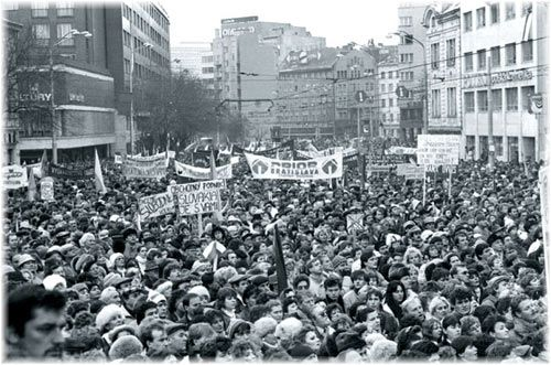The Velvet Revolution was a non-violent revolution in late December, 1989. The revolution's main goal was to end the communists government and create a democracy. It took place in Czechoslovakia, which is now modern day Slovakia and the Czech Republic. http://prezi.com/whrn5b8oso0h/?utm_campaign=share&utm_medium=copy