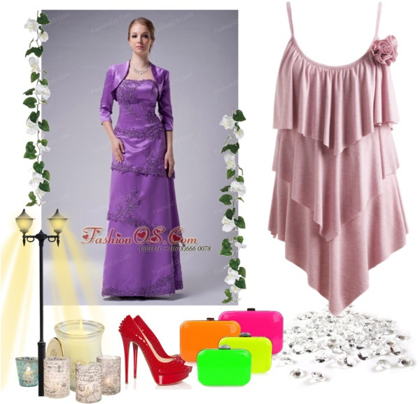 """""""Modest Eggplant Purple Empire Strapless Mother Of The Bride Dress Satin Appliques Floor-length"""" by forthebridesmaidandmother ❤ liked on Polyvore"""