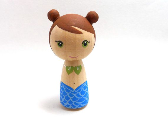 Wooden Peg Doll Kokeshi Mermaid