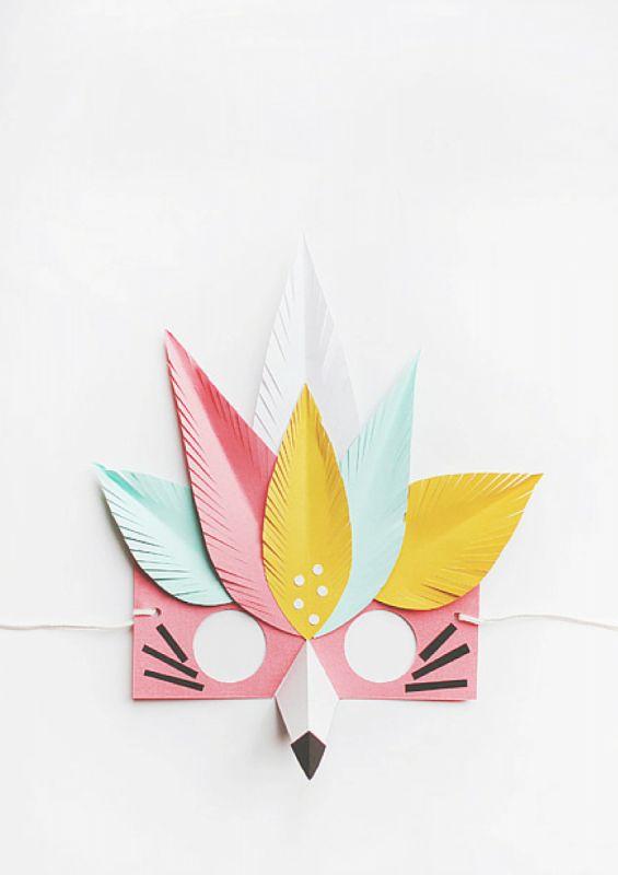 20 Easy Halloween Masks You Can Totally DIY - Masken Basteln Kinder Diy For Kids, Crafts For Kids, Diy Paper, Paper Crafts, Tissue Paper, Fun Crafts, Arts And Crafts, Papier Diy, Paper Mask