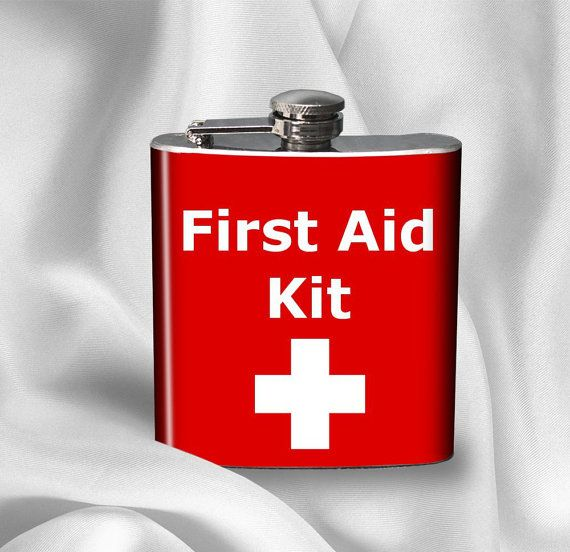 just for a laugh: Hip Flask - First Aid Kit by AGiftToLove on etsy