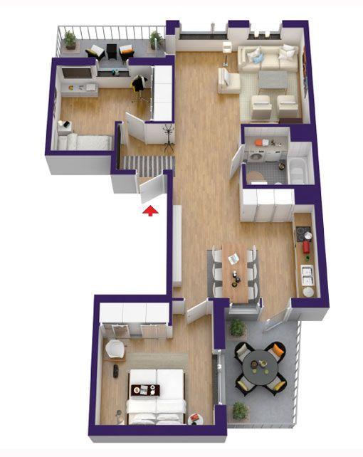 63 best planos images on pinterest apartment plants 3d for Planos 3d