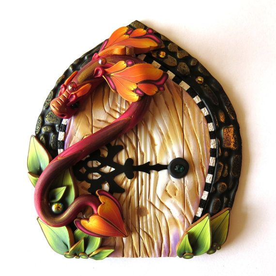 Dragon Fairy Door, Pixie Portal, Polymer Clay Home and