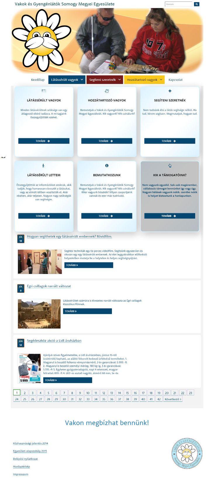 Vakok és Gyengénlátók Somogy Megyei Egyesülete akadálymentes weboldala
