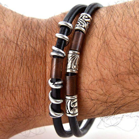 LEATHER HANDMADE BRACELET silver and copper tone urban modern bracelet unisex bracelet hypoallergenic jewelry. €36.90, via Etsy.