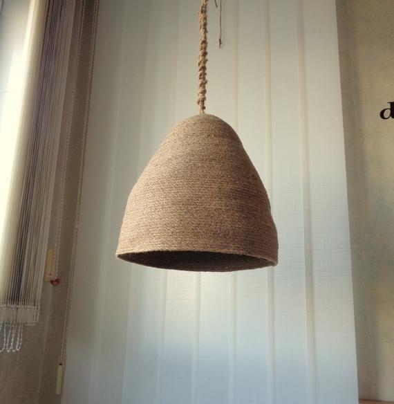 Rustic Lampshade Natural Hanging Light Jute Rope Pendant Light
