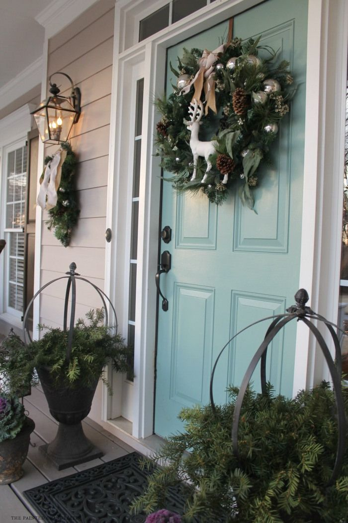 Christmas Porch Tour 2014 w/ new front door paint color