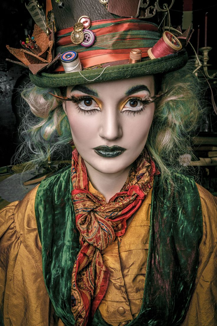 This image creates a more busy looking character. However, i like the colour's used and i am inspired by the detailing of the hat which helps create the mad hatter character. This image also inspired me to use white liner in the eye water line to emphasize the eyes, making them look a little bigger.