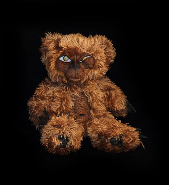 Teddy Bear plushie Scary gothic sculpt so naughty but so cute handmade artist art doll sculpted fluffy furry creature gift Wicked Errol