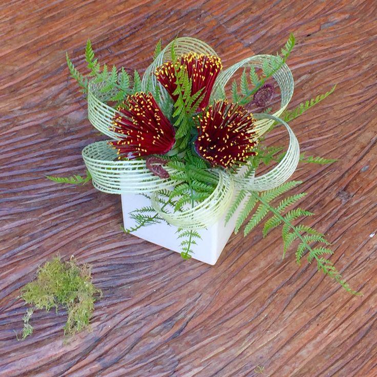Pohutukawa Trio cube with fern, koru & natural loops. www.flaxation.co.nz