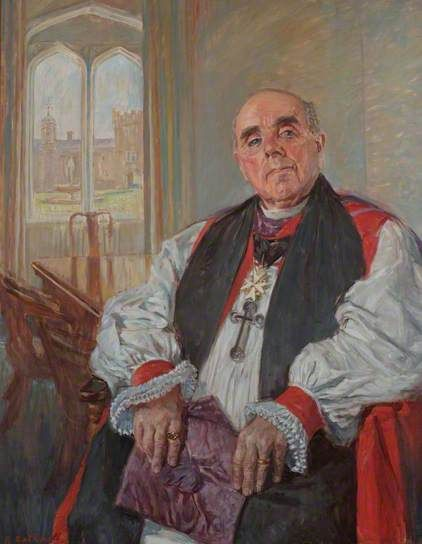 """John Richards (1901–1990), Bishop of St David's University College (1971–1977)"", 1977, by Thomas Roland Rathmell (Welsh, 1912-1990)."
