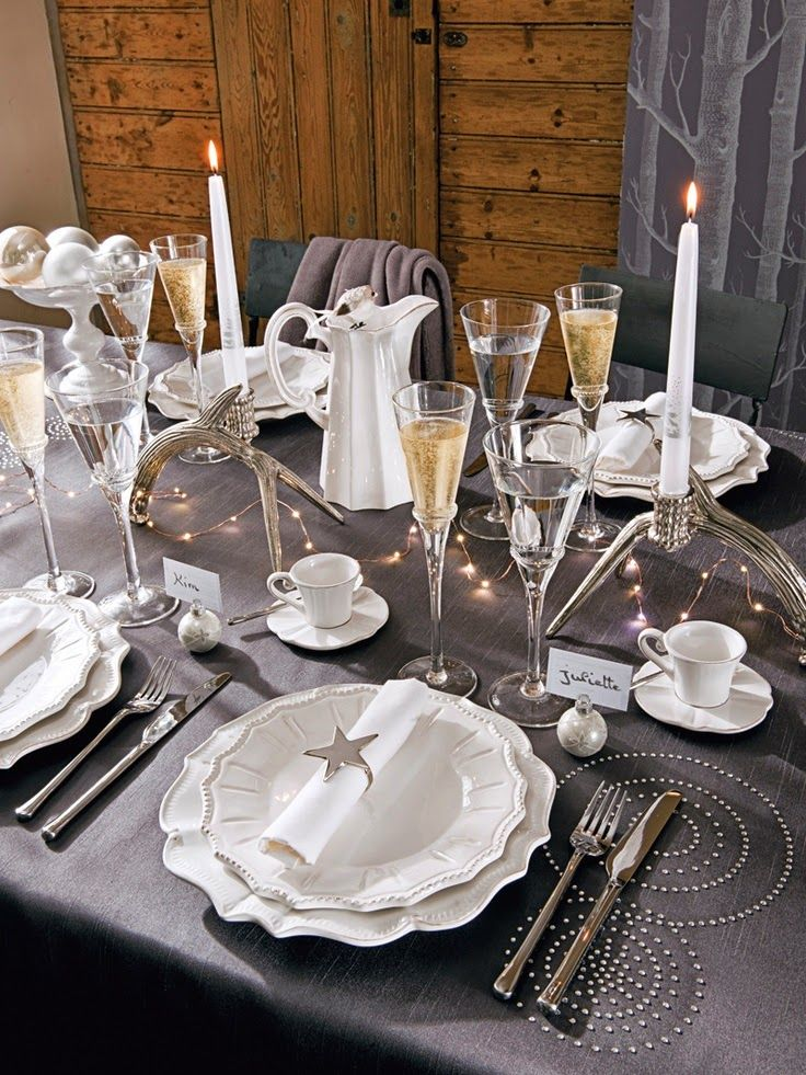 88 best d coration de table images on pinterest christmas ideas christmas - Deco table nouvel an ...
