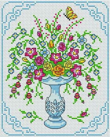 Floral arrangement - Free Cross Stitchers Club