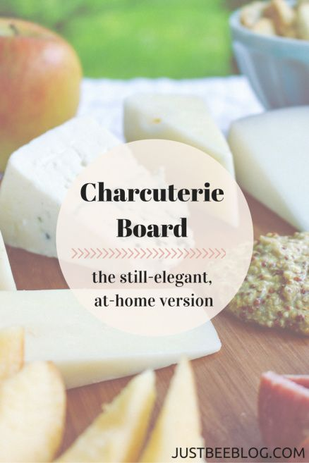 Have a fancy, date night supper at home with this easy (but really elegant looking) charcuterie board! Meat and cheese boards are amazing and simple to put together! Perfect for a quiet night at home with a bottle of wine…or a nice get-together with friends or family! - Just Bee Blog