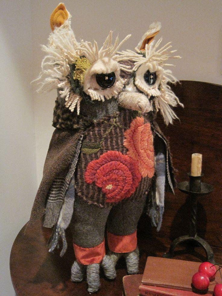 Hand Made Textile Sculpture Owl