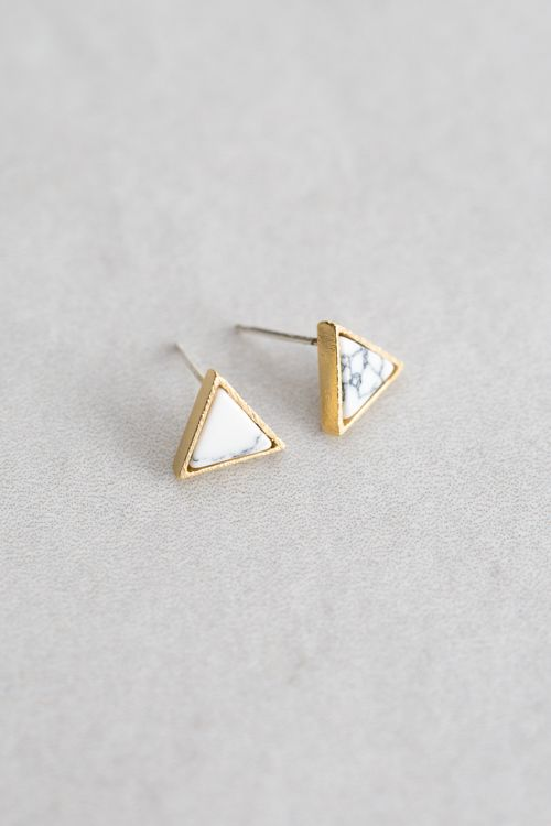 Gold Triangle Marble Stone Stud Earrings