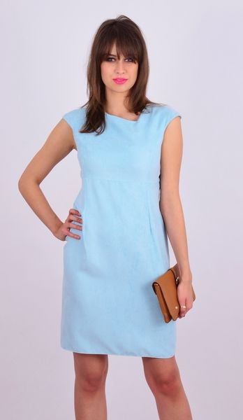 Błękitna midi sukienka z asymetrycznym dekoldem w NAT Fashion Room na DaWanda.com