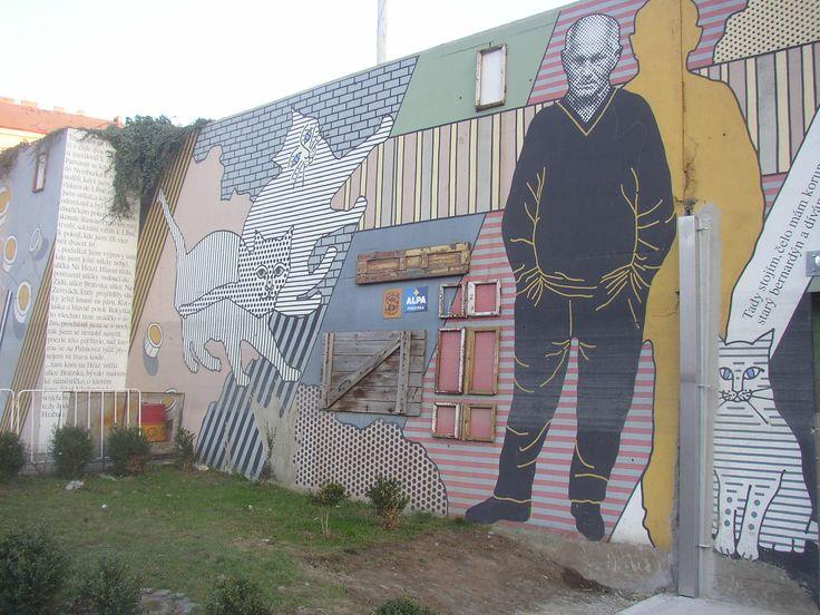 Bohumil Hrabal - Czech famous writer Wall in Prague-Liben CZ