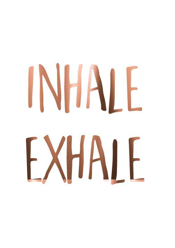 INADEMEN EXHALE koper folie print yoga citaat door PeppaPennyPrints