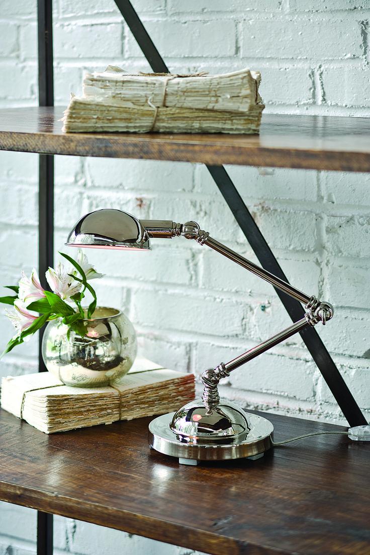 """Оригинальная настольная лампа Mini Task с регулируемой высотой. •Отделка """"полированный никель"""". Также доступна в отделке """"античная бронза"""" арт. 405-755. •Цоколь под лампы Е12.             Материал: Металл.              Бренд: Hampton Lighting.              Стили: Лофт.              Цвета: Серый."""