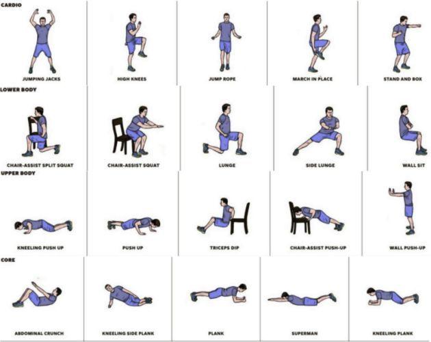 Variaciones En El Entrenamiento De 7 Minutos Que Ejercita Cardio Tren Inferior Entrenamiento De 7 Minutos Ejercicios Cardio En Casa Ejercicios Tren Superior