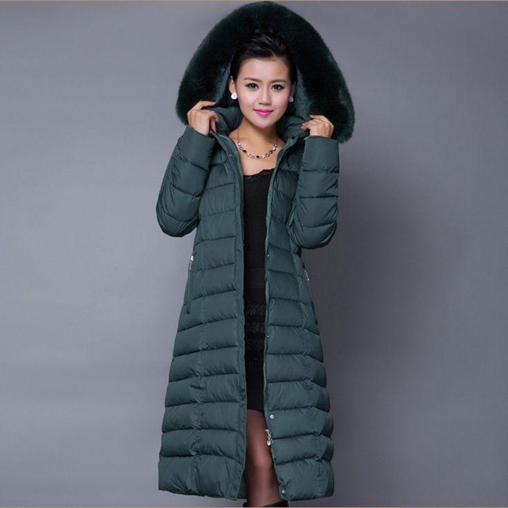 TANGNEST Hood Plus Size Winter COAT Women 2016 Large Faux Fur Collar Down Parka X-long OverCoats Warm Winter Jacket WWD122